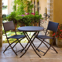 Rota al aire libre jardín mimbre muebles Patio plegable sistema de la silla