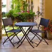Pátio móveis vime do jardim ao ar livre do rattan conjunto de cadeira de dobramento