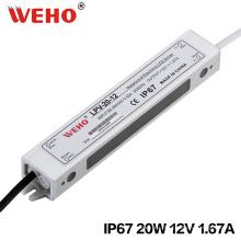 IP67 Постоянн напряжения тока 20W 1.65 драйвер светодиодов 12В