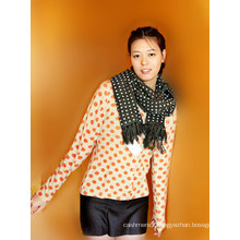Cashmere Cardigan with Polka DOT Printting
