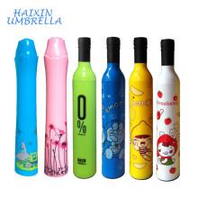 Nuevo paraguas modificado para requisitos particulares al por mayor barato del regalo del Souvenire de la boda del doblez de la forma de la manera del diseño al por mayor con la botella de vino para la promoción