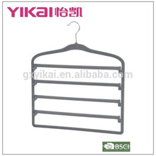 2015Flocking space saving trousers hanger with 5tiers of trousers bar unlocking