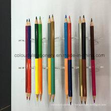 Crayon de couleur à double pointe pour fournitures scolaires