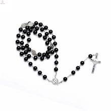 Naturstein-Samen-Edelstahl-Kristallschnaps-Glasanhänger-Rosenkranz-Perlen-Halskette
