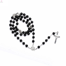 Natural Stone Seed Stainless Steel Crystal Shot Glass Pendant Rosary Bead Necklace