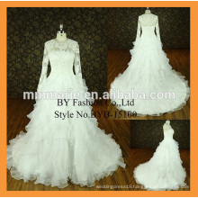 New fashion ruffle organza skirt exquisite hand made flower big tail ball gown wedding dresses with sleeves