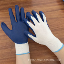 13 gauge nylon knitted working gloves coated with nitrile on palm