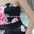 Moda modelo de impressão digital sem mangas mulheres vestido strapless grande bainha design vestido de senhora
