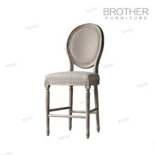 high quality American style fabric the wooden leg dining room french bar chair