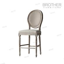 высокое качество американский стиль ткань деревянная нога Обедая стул французский бар
