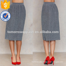 Office Lady Pleated Grey Midi Summer Skirt Manufacture Wholesale Fashion Women Apparel (TA0042S)