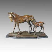 Tier Bronze Skulptur Pferd Mutter-Sohn Dekor Messing Statue Tpal-051