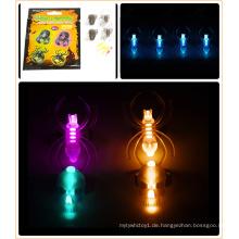 Halloween Glow Ring Set mit Totenkopf und Spinne