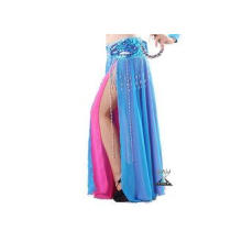 Two Layer Slit Blue And Red Belly Dance Skirt Length 92 cm
