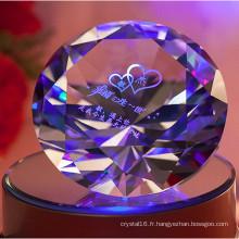 Diamant de cristal brillant diamant coloré gravé