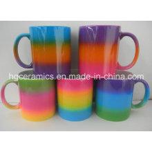 Tasse de couleur arc-en-ciel, tasse de revêtement de couleur arc-en-ciel
