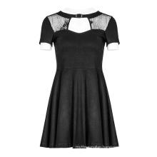 PUNK RAVE  Women Hollow Lace Stitching Dresses OPQ-384  Lady Elegant Latest Female Dress