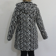 Black and White Wave Hooded PVC Raincoat for Woman