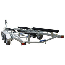 Heavy Duty Boat Trailer with 3 Axles 6 Wheels and Wooden Stand Bracket