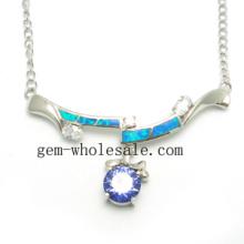 Joyería del ópalo de plata de collar (YN00009)