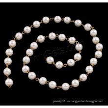 2015 diseños de collar de cadena de cuentas Gets.com, cadena de cuentas de perlas de plástico de ABS, con latón
