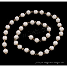 2015 Gets.com bead chain necklace designs, ABS Plastic Pearl Beaded Chain, with Brass
