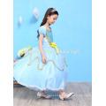 Enfants fille boutique cospay costume robe bleu couleur partie porter princesse robe enfants