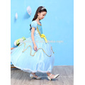 Children girl boutique cospay costume dress blue color party wear princess dress kids