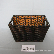 Customized Rectangular Plastic Rattan Magzine Basket