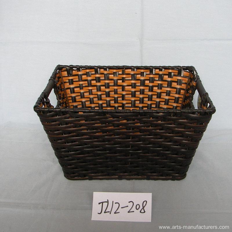 Customized Rectangular Plastic Rattan Magzine Basket