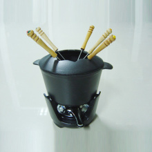 Black Coating Cast Iron Fondue Pot Set
