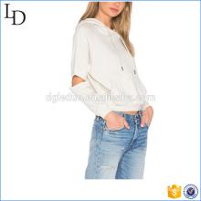 Капюшон на завязках однотонные толстовки кофты женщин французский Терри толстовки