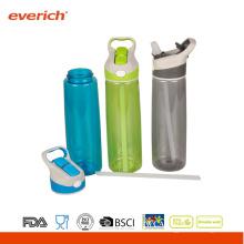 2015 Популярная пластиковая бутылка воды спорта со соломой и ручкой