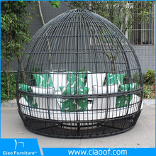 Patio Plastic Wicker Round Bed, modern outdoor round sunbed