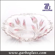 Pink Color Tulip Flower Glass Fruit Bowl