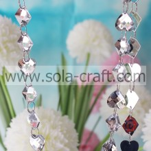 13*18MM Hanging Crystal Heart And Square Shape Transparent Full Cut Almond Beads Curtain