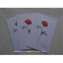 Rose Flower Embossed Gold Foil Cartes de voeux en papier d'art avec enveloppement