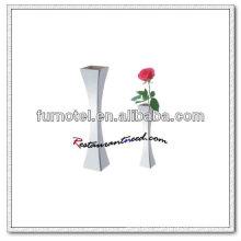 T190 H210mm en acier inoxydable forme carrée en V Vase simple fleur