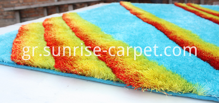 Polyester Shaggy Rug 3D Design Blue and Yellow Color