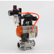 Válvula de bola de acero inoxidable con actuador neumático