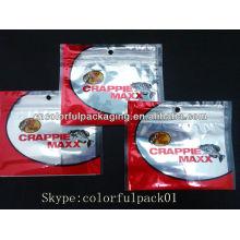 Angelhaken Großhandel Plastiktüten mit Reißverschluss / Aluminiumfolie Angeln Köder Verpackung Taschen / drei Seiten Dichtung Reißverschlusstaschen