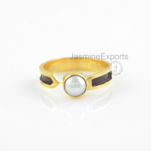 Water Pearl Ring, 18k Gold Pearl Gemstone Rings Handmade Jewelry