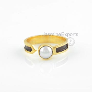 Water Pearl Ring, 18k Gold Pearl Gemstone Rings Handmade Jewelry
