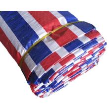 Custom Waterproof 80gsm Blue Red White Stripe Pe Tarpaulin