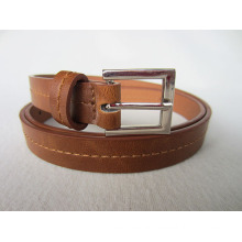 Brown cheap pu leather belt with top stitching