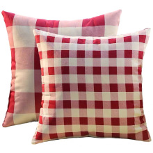 Pillow With Red And White Plaids Pattern Cushion