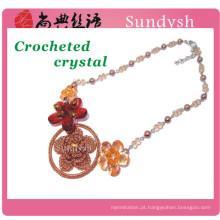 Declaração do vintage malha newes moda multi cor de crochê artesanal de cristal havaiano artificial chunky colar de flores grande