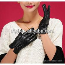girls black cute bow cheap fake leather gloves