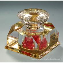 Botella de perfume cristalina del sitio de la pintura del oro 20ml (JD-QSP-323)