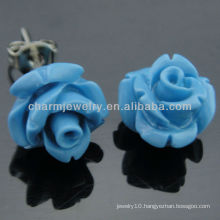 10mm Synthetic Coral Carved Blue rose Flower Stud Earring EF-008
